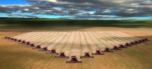 field harvest multiple tractors crop